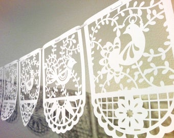 paper cut bird garland picado style bounting party banner ready to hang - set of 6