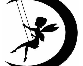 Fairy On Moon Machine Embroidery Designs - Applique Embroidery Design 2