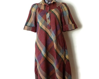 Vintage Reddish Brown Checked/Plaid Short Sleeve Tunic Dress from 70's*