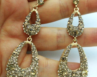 Topaz Color Crystal Chandelier Earrings Rhinestone Bridal Prom Pageant 3.1 inch