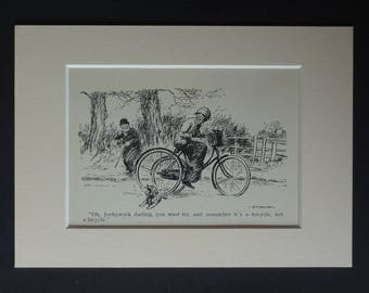1930s Antique Scottie Dog Print, Available Framed, Tricycle Art, Scottish Terrier Gift for Animal Lover, Old Vet Picture, Veterinary Cartoon