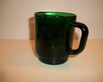 Vintage Green Glass Coffee Mug France 23 Retro Kitchen Christmas St. Patrick's Day