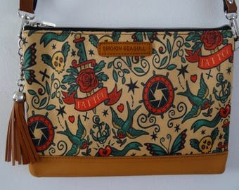 Vintage Tattoo Handbag - Rockabilly Swallow Anchor Sailor Nautical Brown Bag Clutch