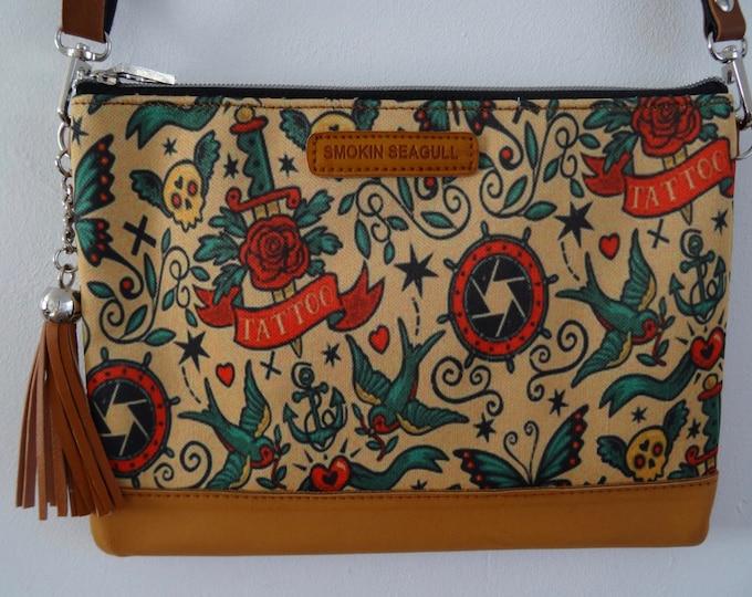 Vintage Rockabilly Tattoo Brown Handbag