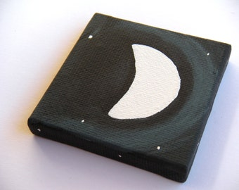 3/4 Moon - ORIGINAL PAINTING - Tiny Painting