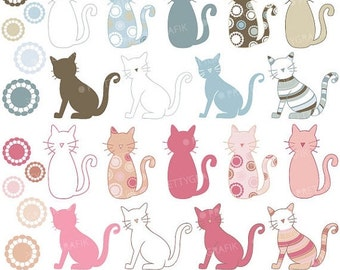 80% OFF SALE Cat clipart commercial use, vector graphics, digital clip art, digital images - CL300