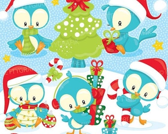 80% OFF SALE Christmas birds clipart commercial use, christmas penguins vector graphics, clipart, holiday  - Cl931