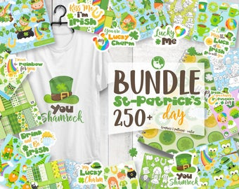 80% OFF SALE St-patrick's day mega BUNDLE graphic set,  commercial use, st-patrick clipart, vector graphics, digital images - prettygrafik