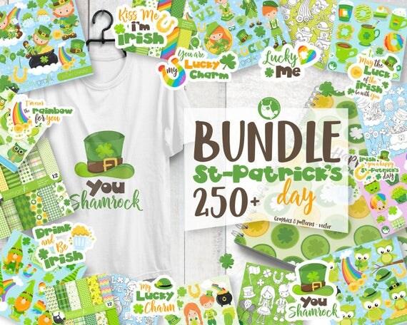 80% OFF SALE St-patrick's day mega BUNDLE graphic set,  commercial use, st-patrick clipart, vector graphics, digital images - prettygrafik