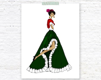 Fashionista Frida - Frida Kahlo Illustration Print