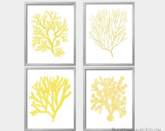 Yellow Coral Watercolor Art, Sea algae watercolor print, yellow and white prints, Yellow Nautical Decor, Watercolor Sea Coral,