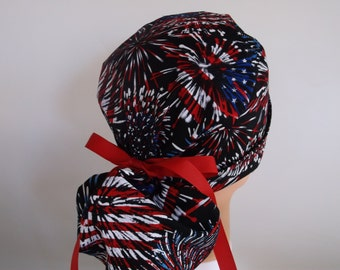 Flag Fireworks Ponytail - Womens lined surgical scrub cap, Nurse surgical scrub hat, 97-900b
