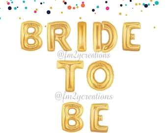 Bride to Be Letter Balloons   Gold Letter Balloon Banner   Bride Letter Balloons   Bachelorette Party Balloon Decor   Bridal Shower Balloon