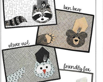 Critter Placemats Sewing Pattern, by Vanilla House Designs, new uncut sewing pattern, Free US Shipping