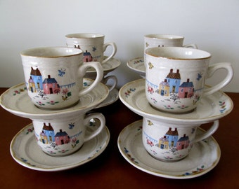 Four International Stoneware Heartland Cups, Saucers, Made in Japan