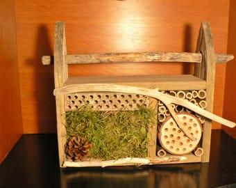 Bee house, Mason bee house, 105 bug house, Bug hotel, garden art, gift idea, Rustic garden art, Driftwood, Wedding gift idea, rustic decor