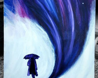 Surreal Painting | Umbrella Painting | Abstract Painting | Original Art | Space Painting | Galaxy Canvas Painting | Avant Garde Art