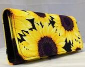 SUNFLOWER print handmade handcrafted checkbook style women's wallet