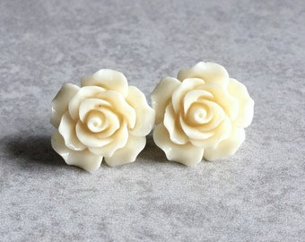 Bone White Rose Earrings - 20mm Resin Cabochons, Silver Plated Stud Backs, Pearly, Shabby Chic, Spring, Ivory, Large, Bridesmaid Jewelry