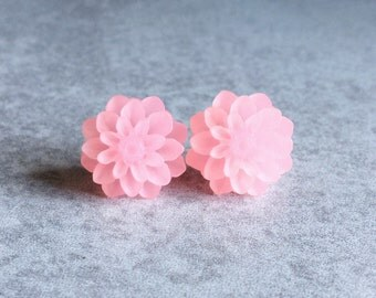 Pink Dahlia Earrings - Silver Plated Stud Posts, 15mm Resin Cabochons, Mums, Flowers, Candy Pink, Pastel, Light, Spring, Bridesmaid Jewelry
