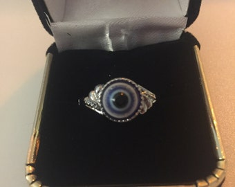 All Seeing Eye Silver Tone Ring Size 8