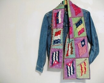 Vintage 1940s Patchwork Pieced Squares Flannel Flags of the World  Runner Scarf 10x60
