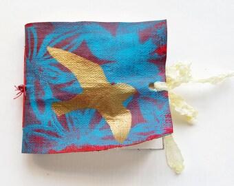 Art journal, journal, hand made, hand bound, watercolour, mixed media, book, canvas, bird, gold, red, blue