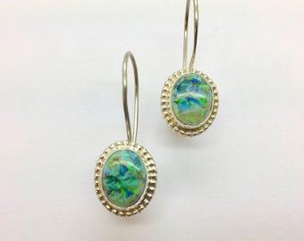 Monarch Opal Earrings, Opal Earrings, Monarch Opals with Border Earrings, Sterling Opal earrings