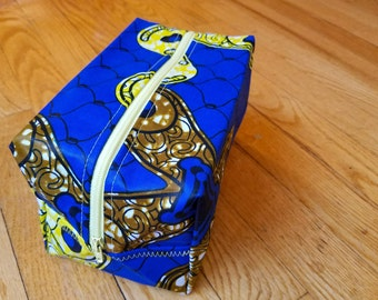 Rectangle Toiletry Pouch- Blue, Yellow, & Brown African Cotton