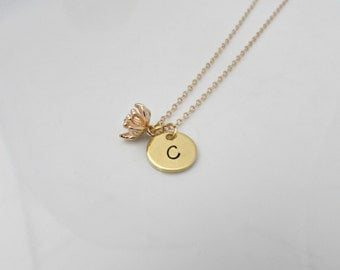 Bell Flower Necklace, Gold Flower Necklace, Flower Initial Necklace, UK Seller, Gold Initial Necklace, Bridesmaid Gifts, Bridesmaid Necklace