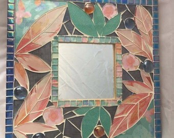 Mosaic Mirror, 26cm x 26cm, recycled stained glass, upcycled, wall art, mother's day, floral, pastel colour
