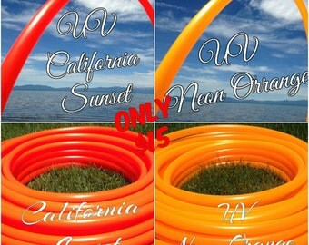 Sale - UV California Sunset or Neon Orange Colored PolyPro Hula Hoop - You pick the size