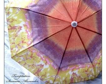 IN STOCK! Umbrella for Fashion, Rain, Travel or Fun -- Bold and Beautiful Rust Purple Pink Citrine Sunshine in the Rain!