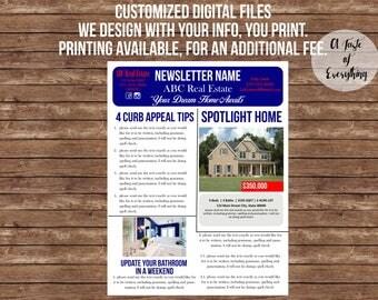 Fully customized Newsletter-- Monthly newsletter, weekly newsletter, church newsletter, real estate newsletter