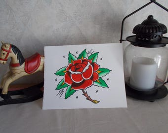 Traditional Tattoo Flash Rose,Tattoo Art, Tattoo Original,Tattoo Paint,Tattoo Flower,Traditional American Tattoo,Traditional Tattoo,Vintage