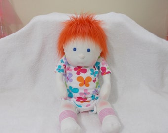 """16"""" Baby Girl Cloth handmade Doll Waldorf Inspired Mongolian fur Red Orange hair Blue eyes Soft Sculpted plush stuffed Christmas Easter toy"""