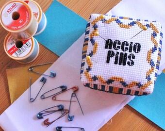 House Pride Cross Stitch Pin Cushion PDF Pattern - Blue and Bronze - Pin Cushion Tutorial