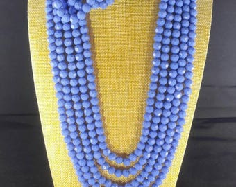 Multi strand blue/purple glass beads jewelry set