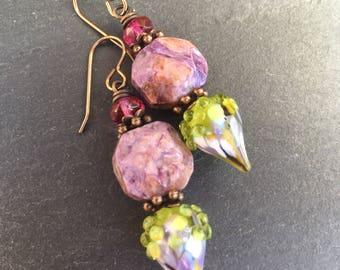 Lilac Bush Earrings, Lampwork Headpins, Summer Earrings, OOAK, Gemstone Beads, Artisan Lampwork Glass, Garden Earrings, Mother's Day Gift