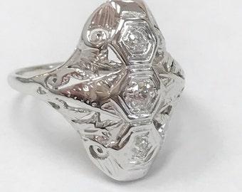 Antique Diamond Dinner Ring - 18 Karat White Gold - 1930
