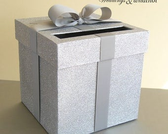 """XL Silver and Silver Wedding Card Box with Bow 12.5"""" x 12.5"""" Choose your colors"""