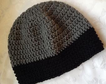 SALE Chemo Cap Crochet Gray with Black brim Chemo Hat Cap Beanie, Women's Head Wrap Ready to Ship