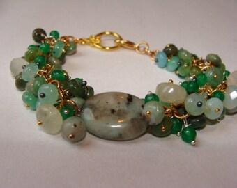 Leopard Jasper, Green Onyx, Chrophase, White Chalcedony, Green Aquamarine Cluster Bracelet in 14K GF and Vermiel