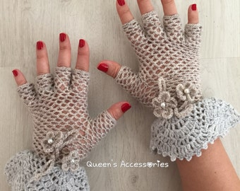 Crochet Cream Gray Lace Fringerless Gloves with Ruffles and Flowers, Bridal Gloves, Fall Winter Fashion Accessories