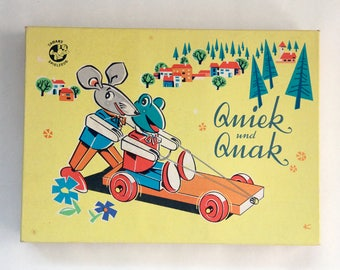 Vintage Quiek und Quak frog and mouse model building kit, by Tabarz Spielzeug.