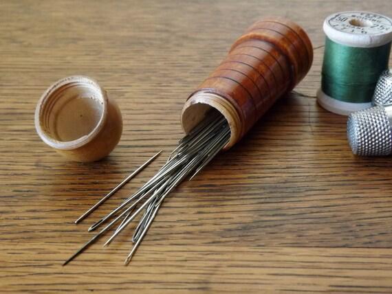 Lighthouse Treen Needle Case Etui Wood Sewing Kit