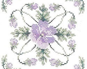 Leisure Arts Pansy Perfection Cross Stitch Blocks For Quilts Charted Designs Iron On Transfers Barbara Hillman Rare Out of Print Needlework