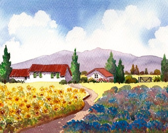 Original Watercolour, Painting, Sunflowers, and Lavender, Provence, South Of France, Size 14ins x 11ins, Gift Idea, Art and Collectables