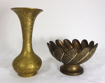 Vintage India Etched Brass Vase And Bowl - Brass Vase - Brass Bowl - India Brass - Brass Set - Vintage Brass - India Brass Vase