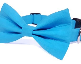 Turquoise cat bow tie collar set & dog bow tie collar set - adjustable with bell (optional)